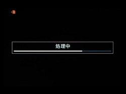 撮影後の画像処理中の表示。画面の左上には、メモリーカード書き込み中の表示(点滅)。